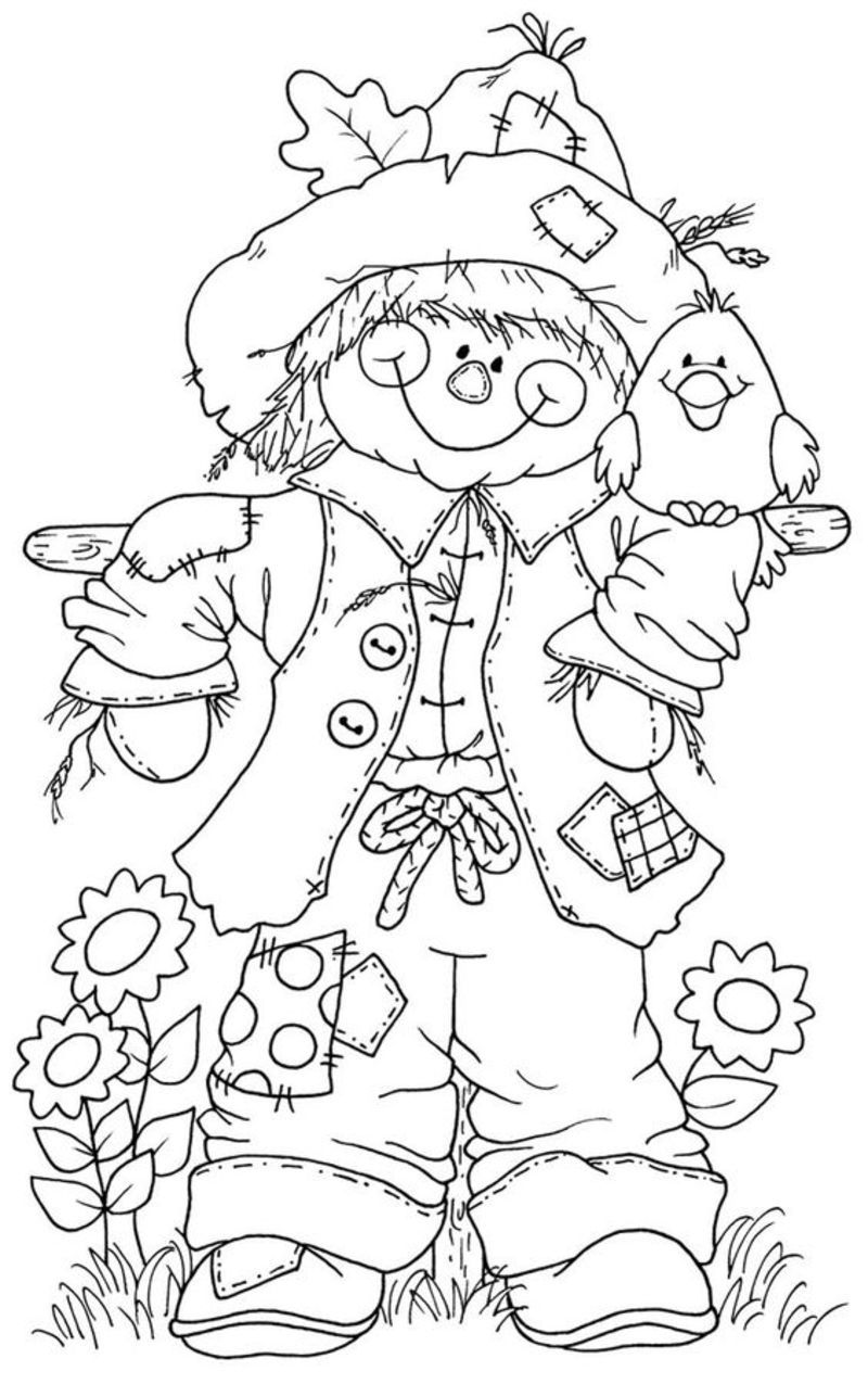 8x11 girl scarecrow coloring pages | Coloriage automne