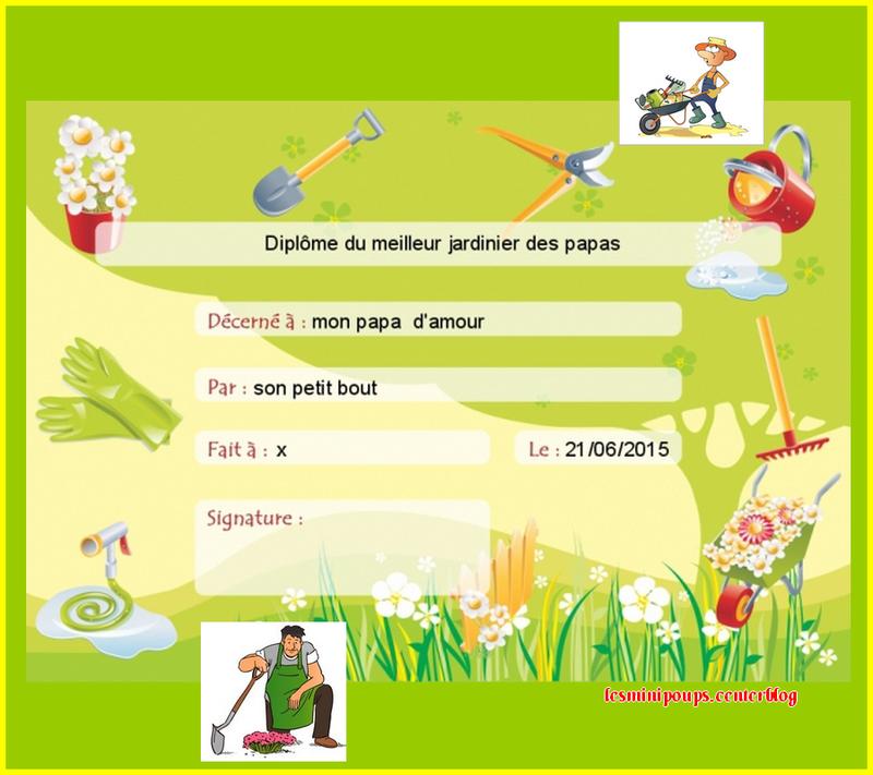 Jardinier - Diplome du super papa a imprimer gratuit ...