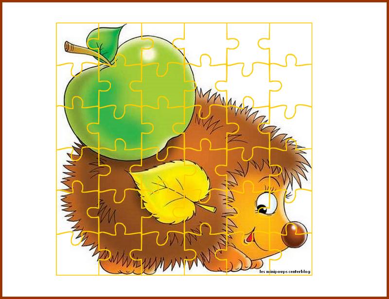 Le puzzle du h risson imprimer puzzle herisson for Puzzle a colorier gratuit